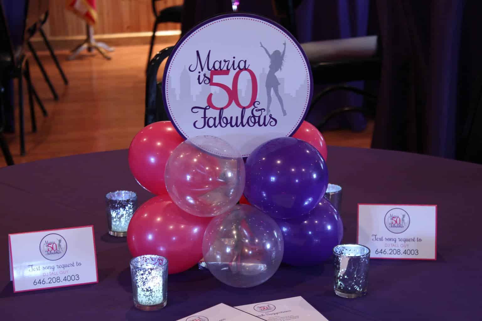 Pink Purple Balloon Centerpiece With Custom Logo For 50th Birthday