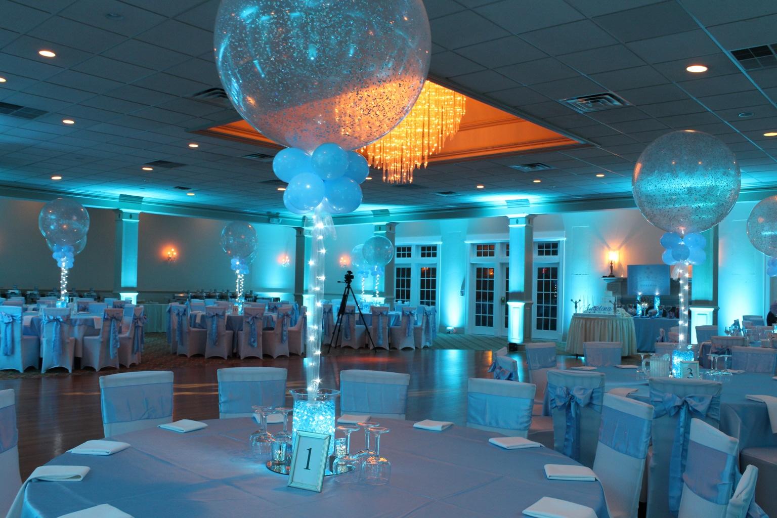 Aqua gems centerpieces balloon artistry for Balloon decoration ideas for sweet 16