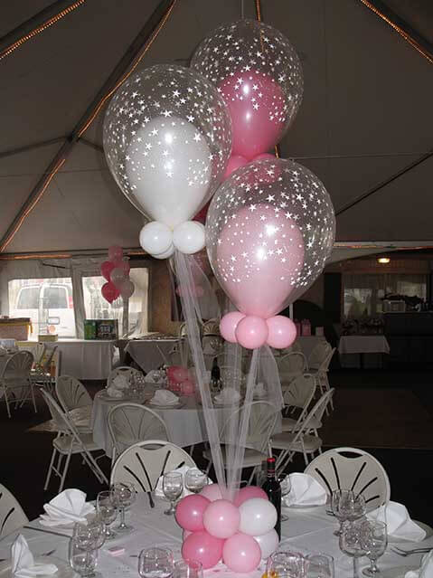 Pink White Balloons In Star Centerpieces