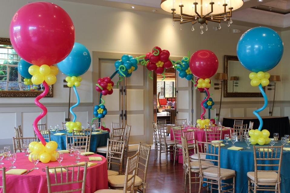Pink U0026 Turquoise Balloon Centerpiece