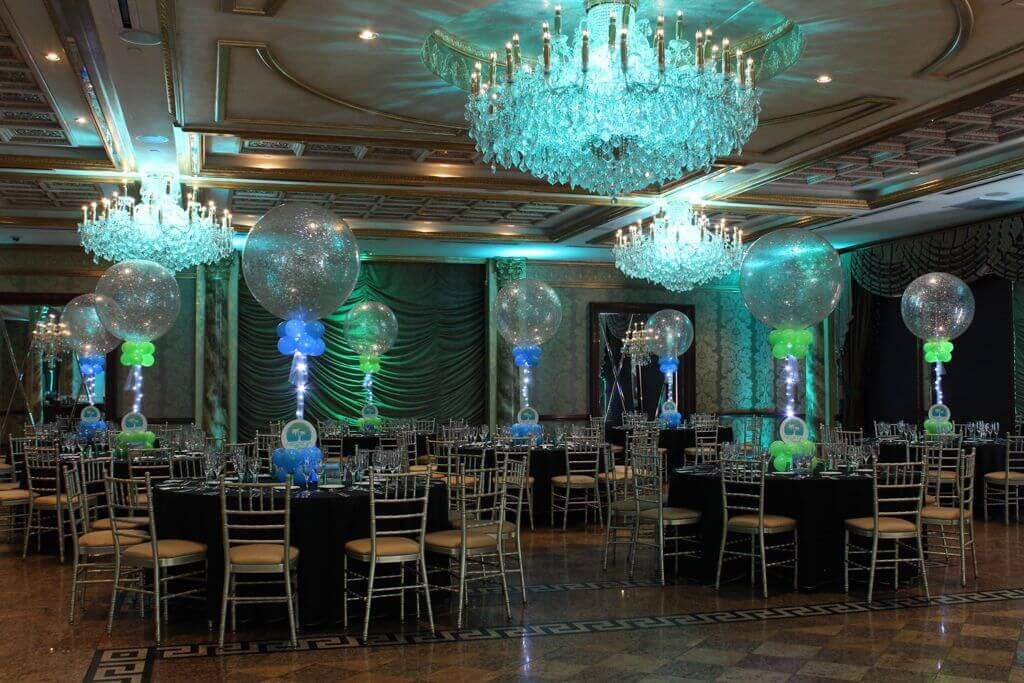 LED Sparkle Balloon Centerpiece with Custom Logo for Beach Themed Bat Mitzvah & Images tagged