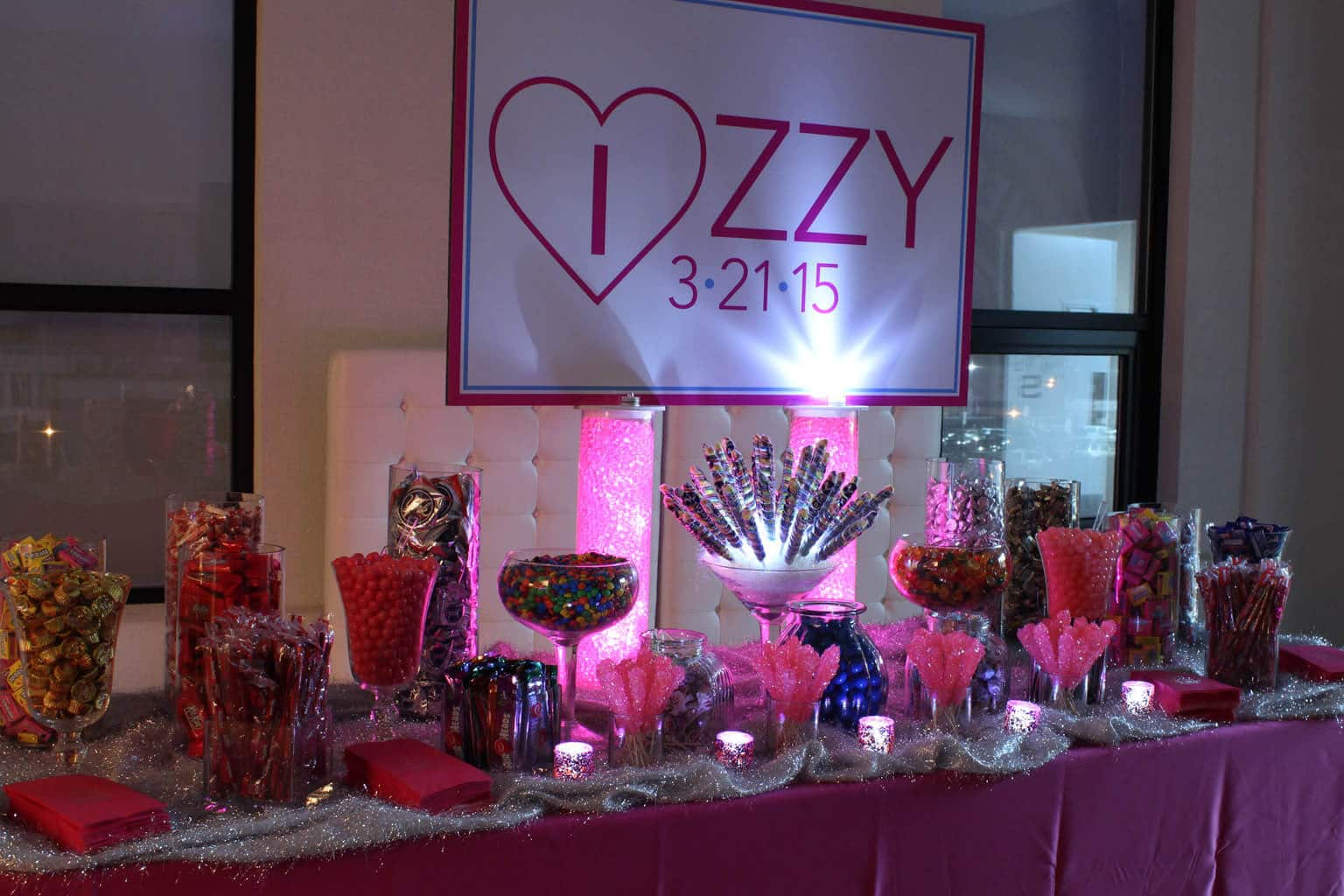 Bat Mitzvah Candy Bar Setup With Custom Logo Sign Led Lights