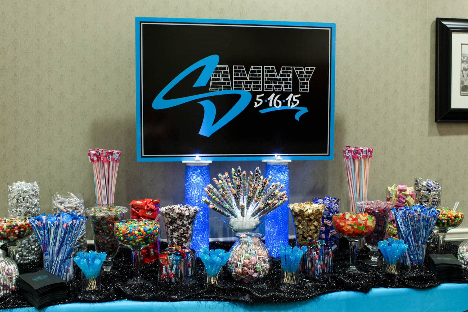 Bar Mitzvah Candy With Custom Logo Sign