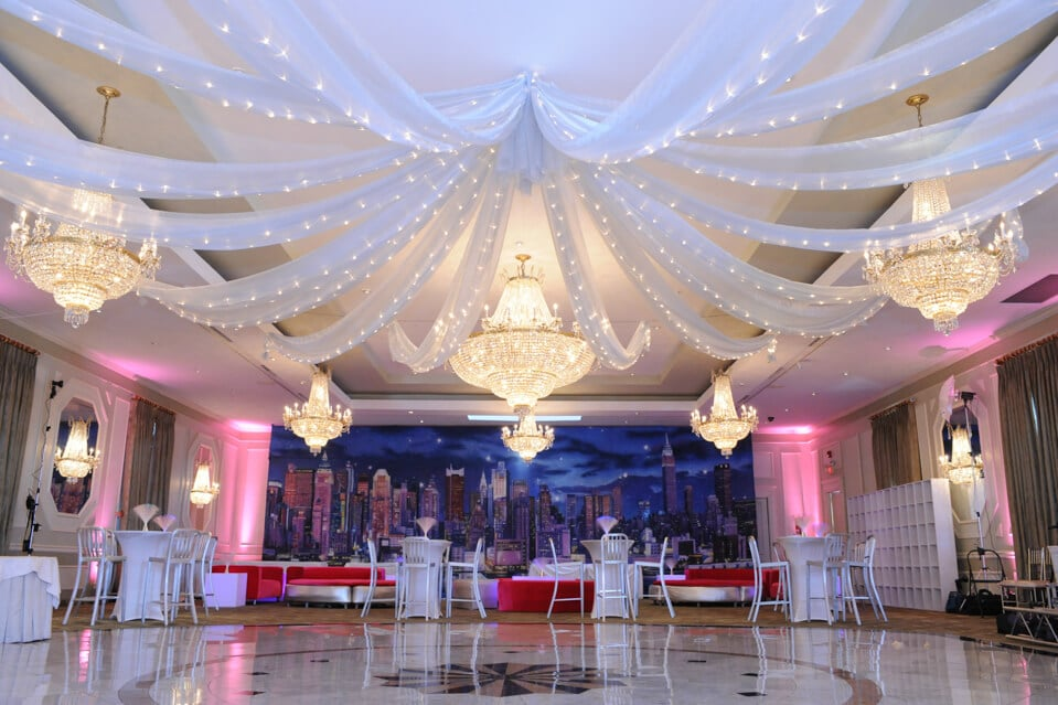 Silver Sparkle Organza Swagged Over Dance Floor With Lights