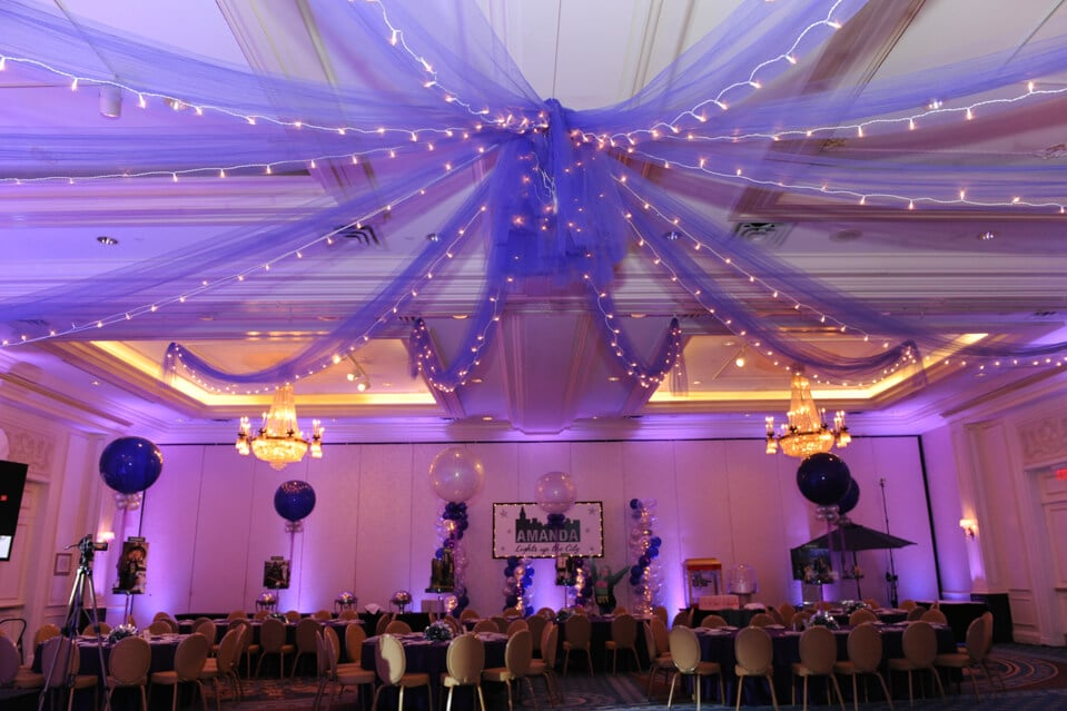 Purple Tulle With Lights D From Ceiling