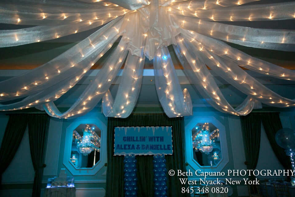 Silver Sparkle Organza Swag & Ceiling Draping - Balloon Artistry