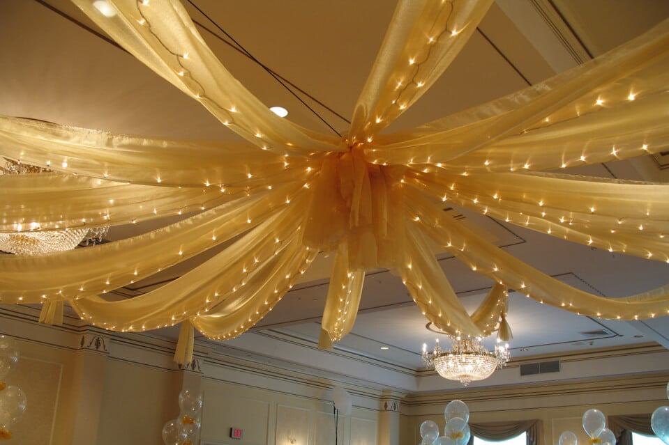 Ceiling draping balloon artistry