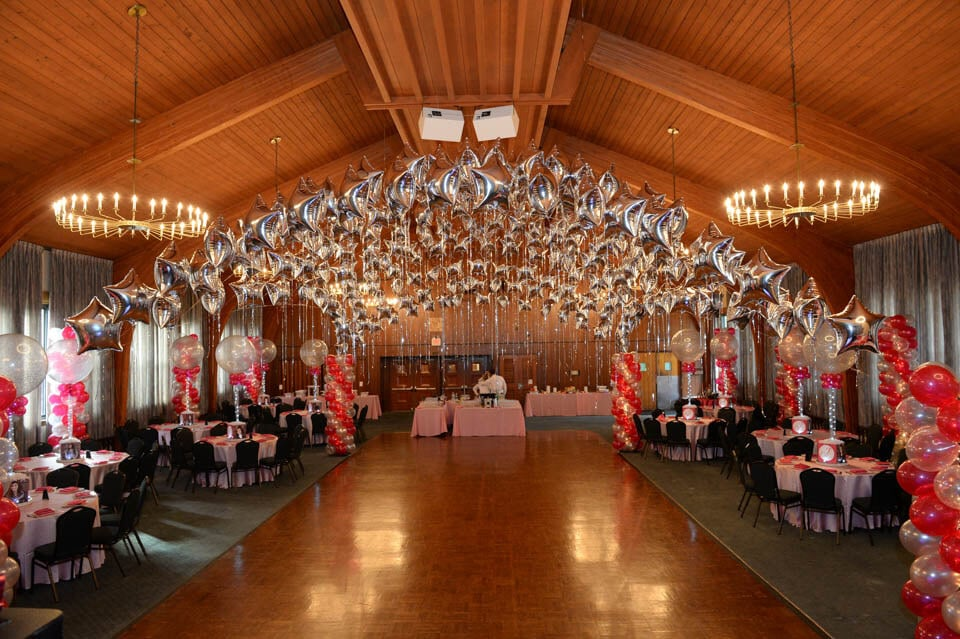 Hot Pink u0026 Silver Themed Bat Mitzvah with Star Canopy over Dance Floor & Balloon Canopy - Balloon Artistry