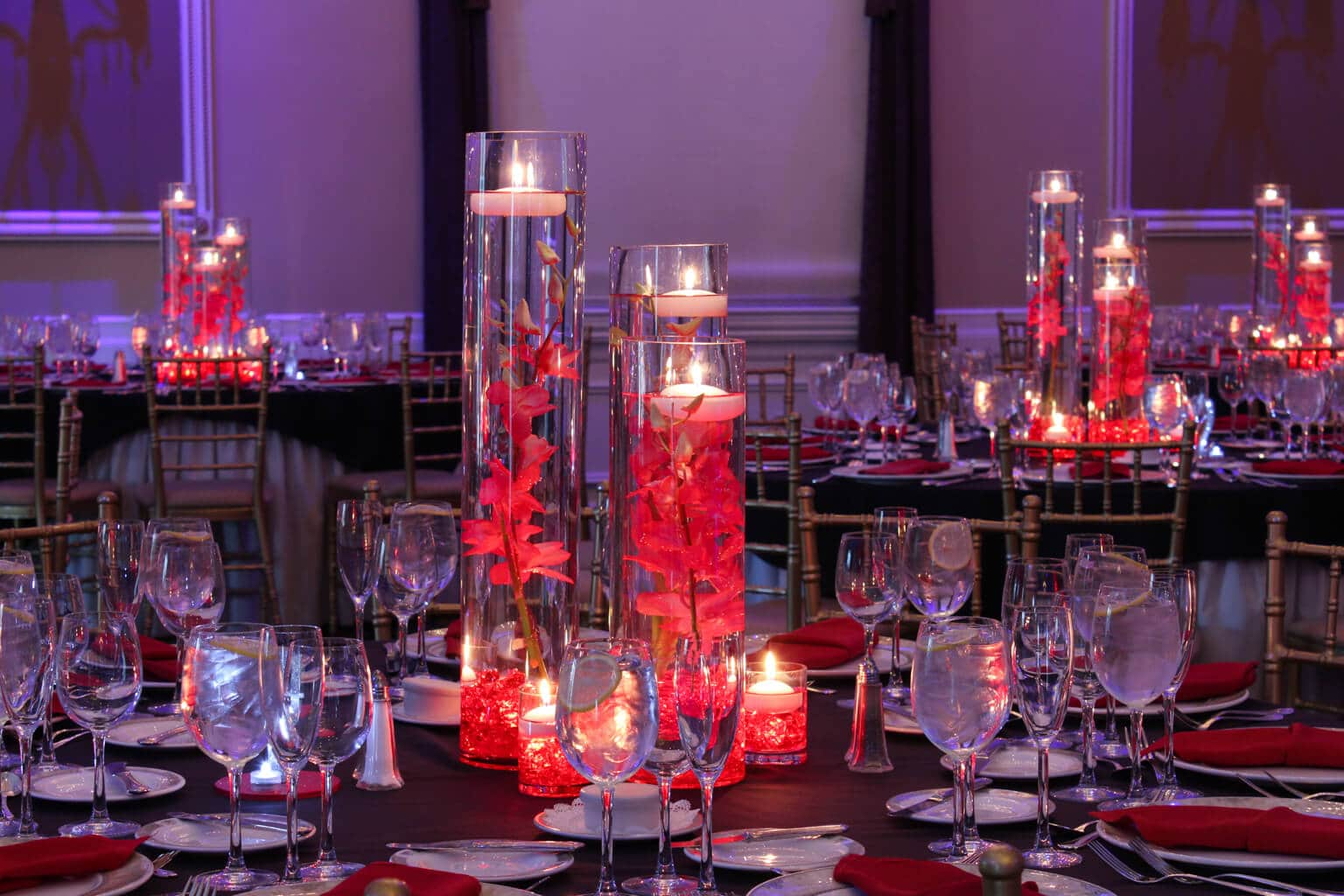 LED Orchid Centerpieces with Red Chips u0026