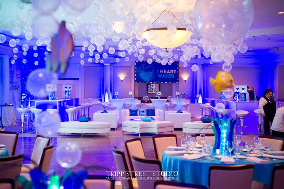 Underwater Themed Bat Mitzvah With Custom Lounge Bubbles Over Dance Floor Centerpieces At