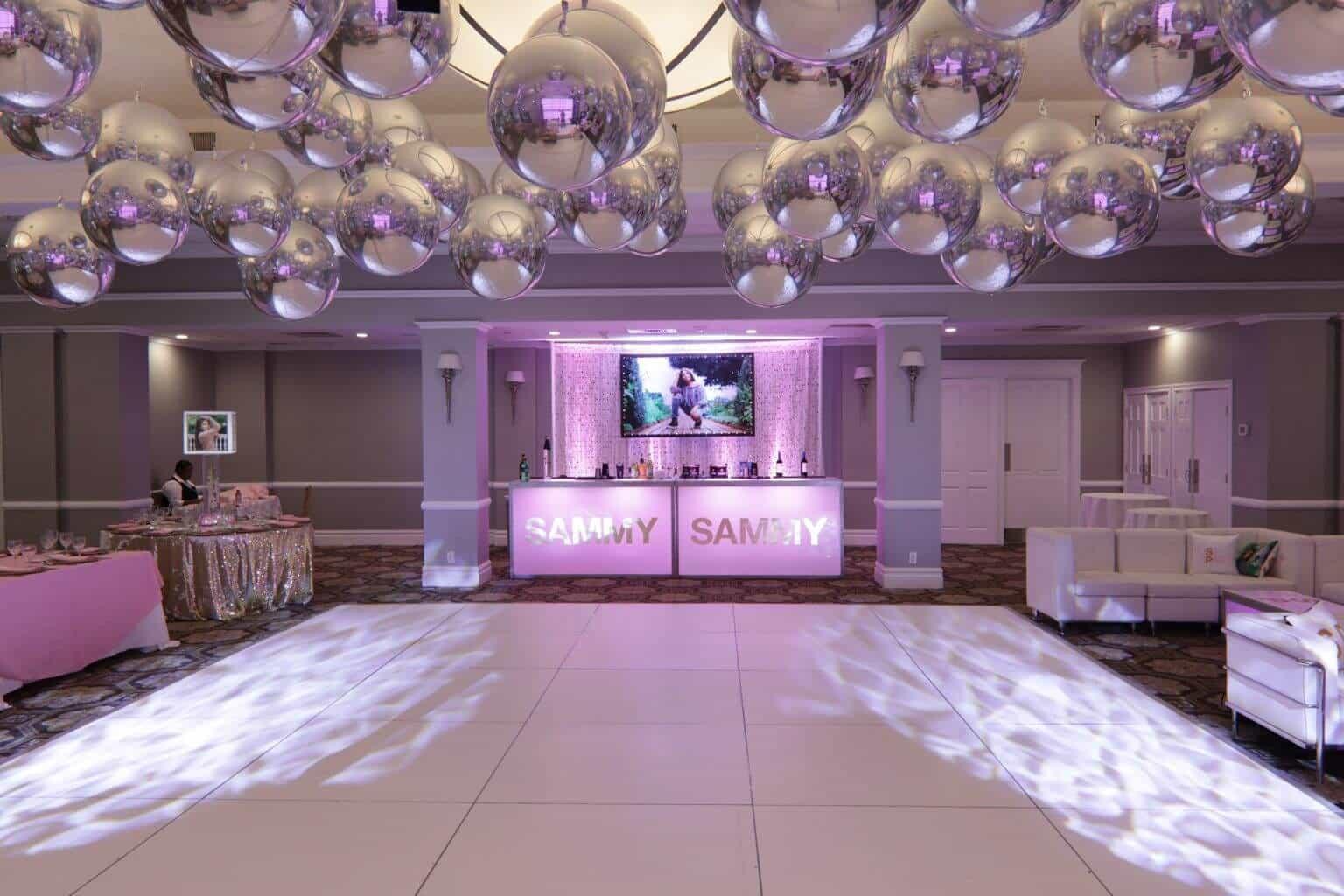 Bat Mitzvah Setup With Metallic Orbz Over Dance Floor Led Bar Bling Photo
