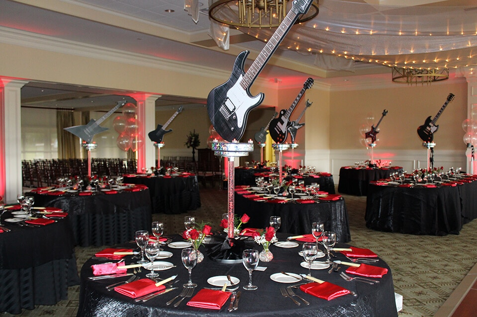 Images tagged music themed bar mitzvah balloon artistry - Rock and roll theme party decorations ...