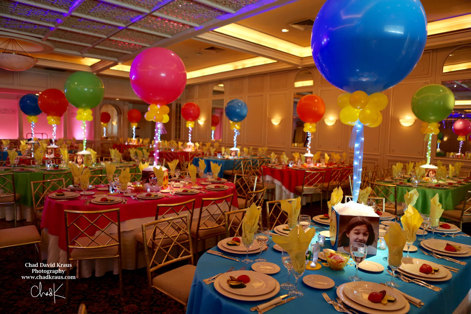 Emoji Themed Bat Mitzvah With Custom Photo Cube Centerpieces Large Balloons Lights At The