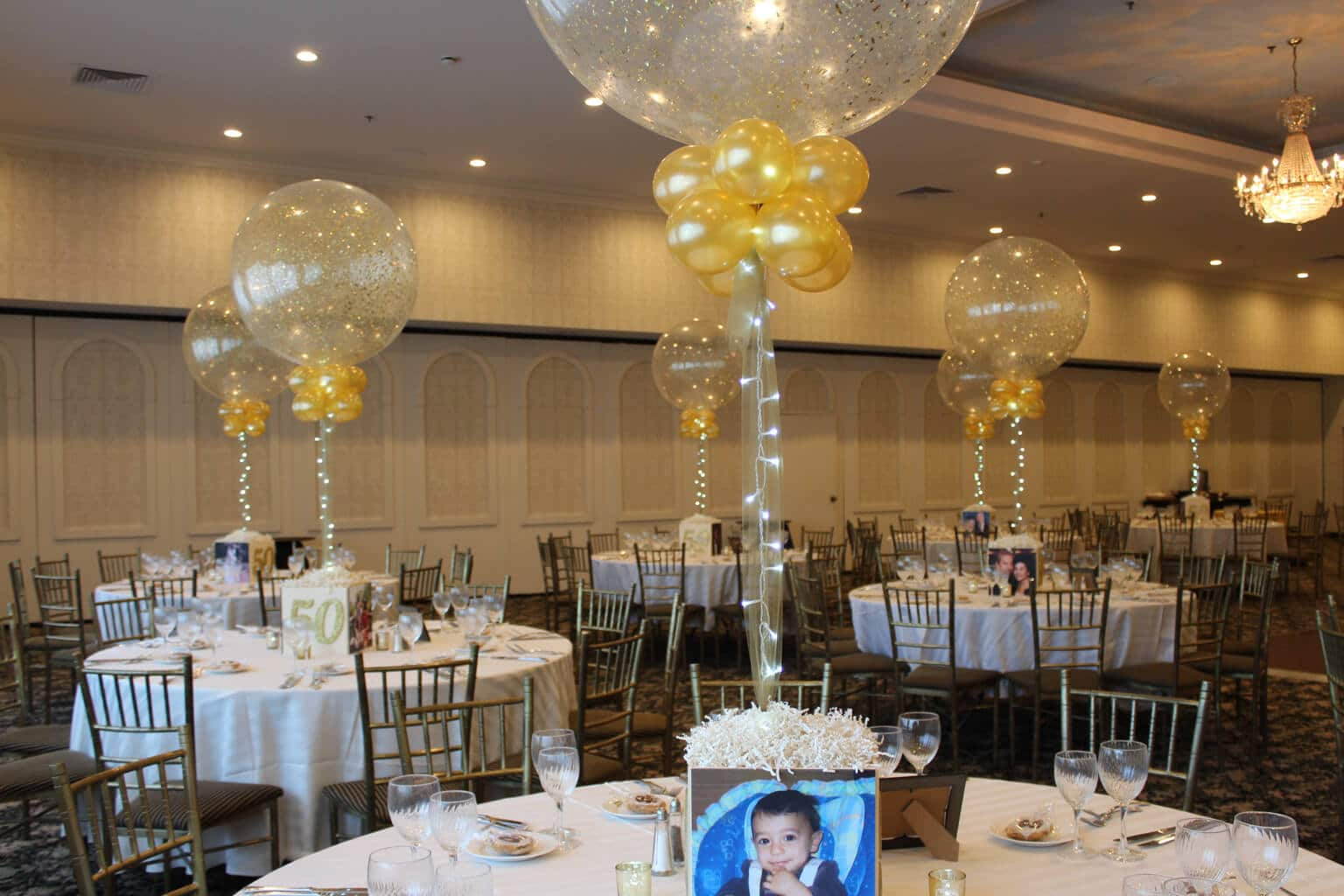 Photo cube centerpieces balloon artistry for 50th anniversary decoration