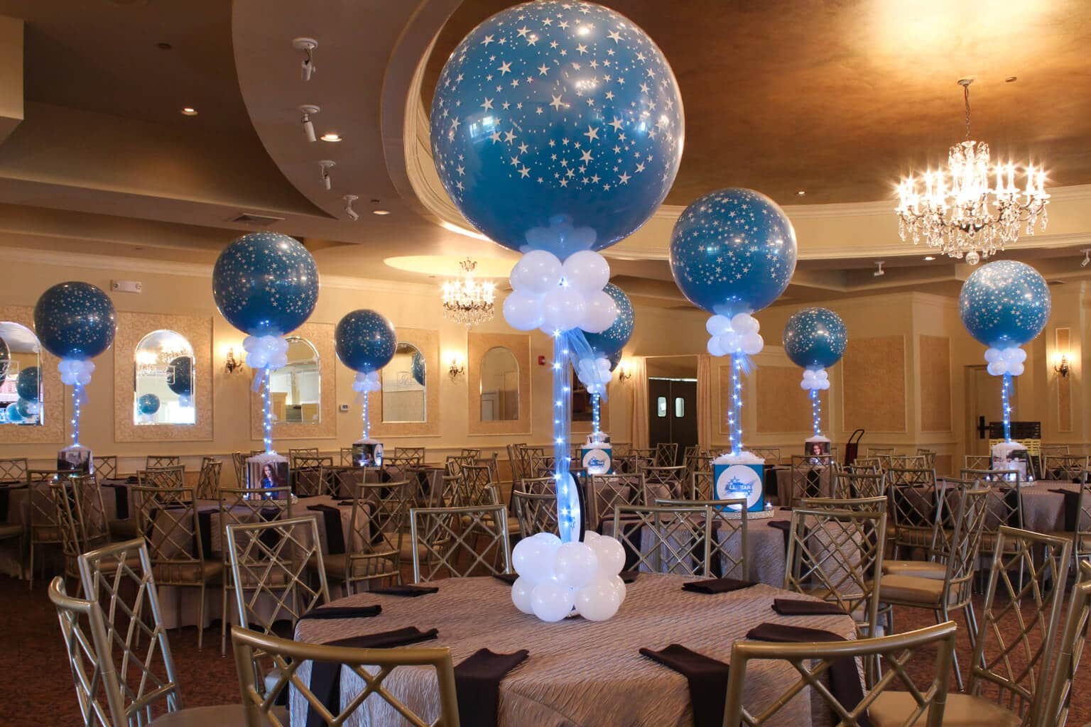 Bat mitzvahs balloon artistry for Balloons arrangement decoration