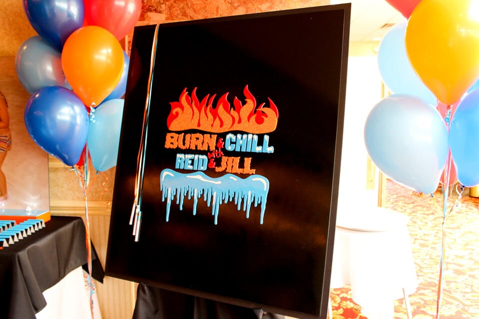 Bnai Mitzvah Sign In Board With Fire Ice Themed Logo