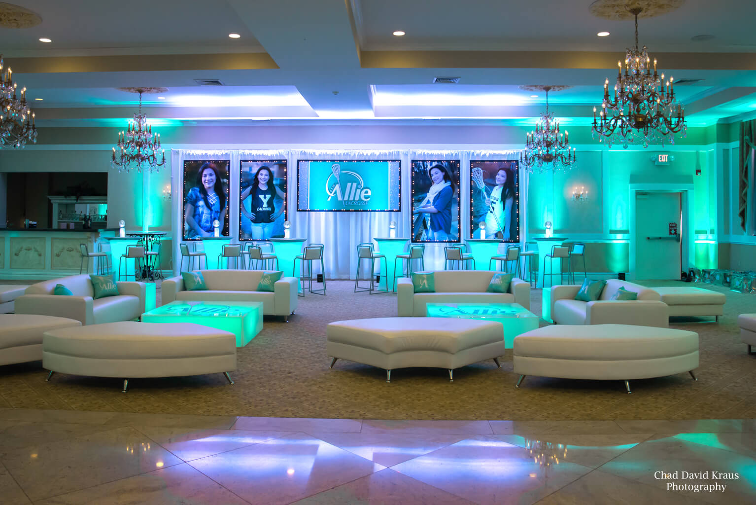Wintergreen Uplighting For Lacrosse Themed Bat Mitzvah With Custom Lounge Setup At Villa Barone Hilltop Manor
