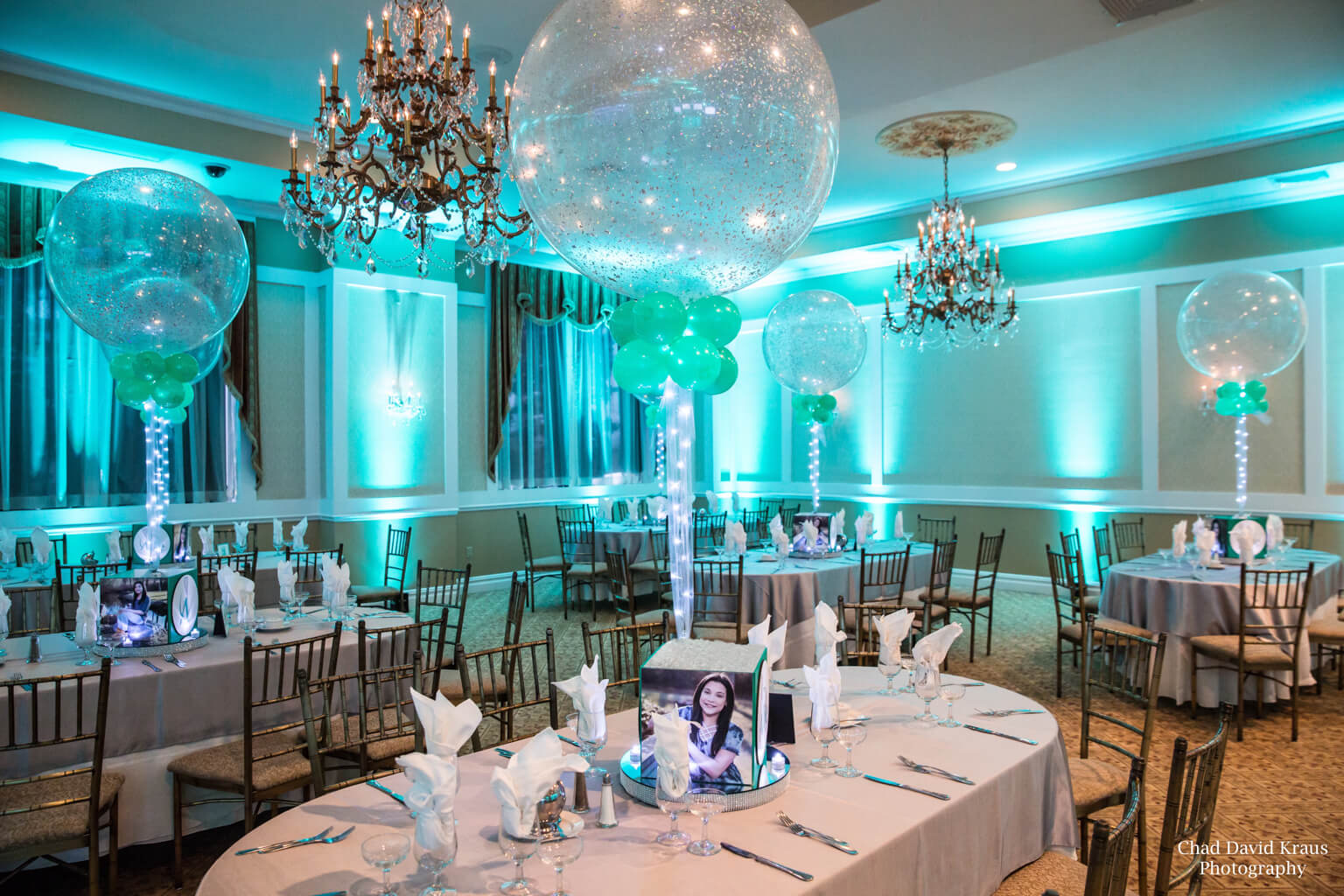 Wintergreen Uplighting For Lacrosse Themed Bat Mitzvah With Sparkle Balloon Centerpieces At Villa Barone Hilltop Manor